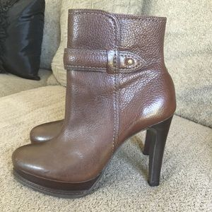 Talbots brown leather boot with heel